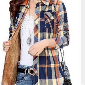 Jackets & Blazers - Faux fur lined Plaid shirt jacket